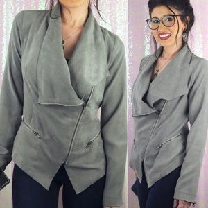 RAMPAGE Vegan Suede Zip Up Jacket Grey Taupe